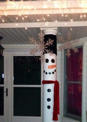 Snowman Porch Pillar DIY Christmas Decoration