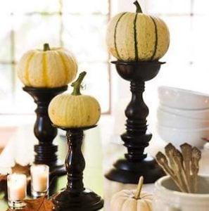 Mini Pumpkins on Candlestick