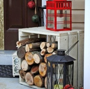 winter log porch christmas display logs wood crate lanterns battery operated candles - Best Front Door Christmas Decorations