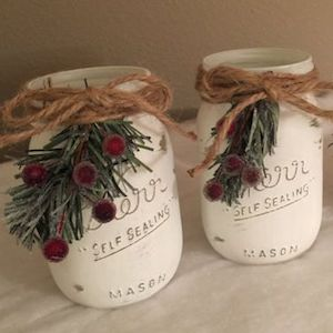 white chalk paint mason jar christmas pick twine