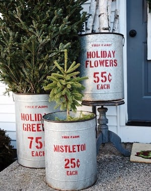 rustic christmas porch red acrylic paint vintage galvanized buckets letter number stencils - Rustic Christmas Porch Decorating Ideas