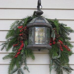 christmas light with greenery evergreen clippings berry sprigs floral wire