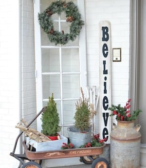reclaimed wood christmas tree from funky junky interiors vintage farmhouse christmas porch from little vintage nest - Vintage Farmhouse Christmas Decor