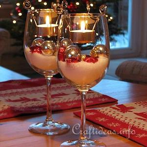 wine glass glittery foam vase filler vanilla pillar candle mod podge silver glitter tea light christmas decorations