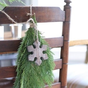 Farmhouse Chair greenery swag with wooden ornament