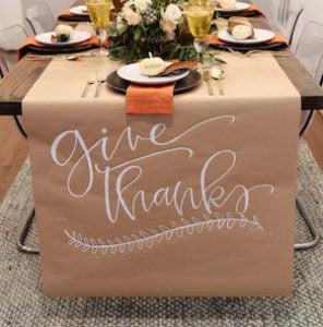Give Thanks kraft paper table Runner