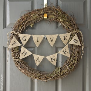 Give Thanks Thanksgiving Wreath with burlap bunting