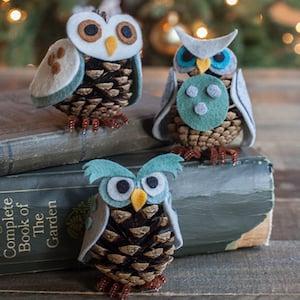Pine Cone Owl Christmas Ornament Crafts
