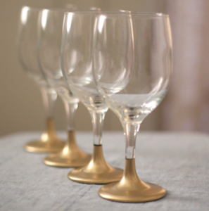 DIY Gold Dipped Holiday Glasses