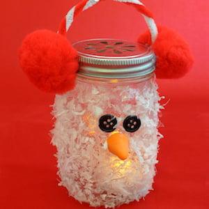 Snowman Mason Jar Luminary