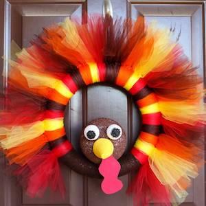 DIY Turkey Tulle Thanksgiving Wreath