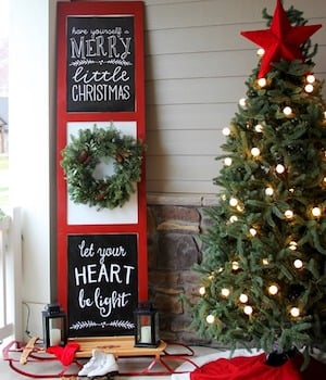 christmas porch door sign wood panel door red paint wreath chalkboard paint chalk pen