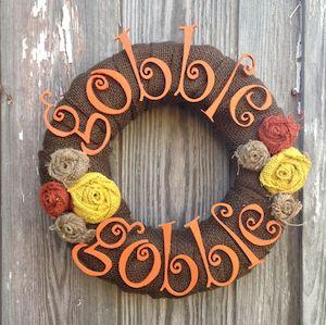 Burlap Gobble Gobble Wreath