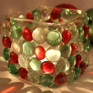 dollar store christmas candle holder glass candle holder glass beads hot glue gun tealight candle - Christmas Candle Holders Decorations