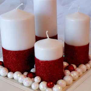 Christmas Candles paper towel & toilet paper rolls + hot glue + battery operated tea light candles + white spray paint + glitter