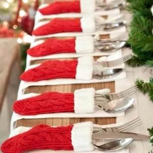 Mini Stocking Utensil Holders Christmas Party Table Decor