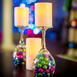 wine glass glittery foam vase filler vanilla pillar candle mod podge silver glitter tea light christmas decorations