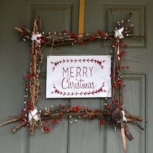 Scandinavian twig frame Christmas Wreath