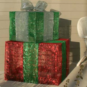 lighted christmas gift boxes 14 wood hammer nails staple gun twinkle lights mesh ribbon - Lighted Christmas Presents
