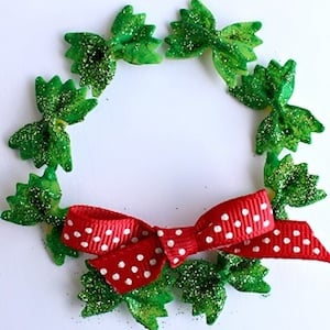 Bow Tie Noodle Wreath Christmas Craft