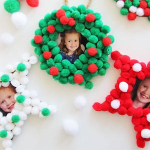 Pom Pom Christmas Photo Ornaments