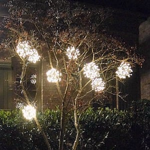 tree ball ornaments chicken wire wire cutters gloves zip ties string lights wire dry cleaning hangers - Outdoor Christmas Ball Ornaments