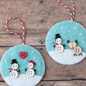 Button and Felt DIY Christmas Ornaments for kids