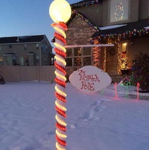 100 best outdoor diy christmas decorations prudent penny pincher pvc pipe red glitter duct tape globe light rope lights battery operated light 3m hooks mozeypictures Gallery