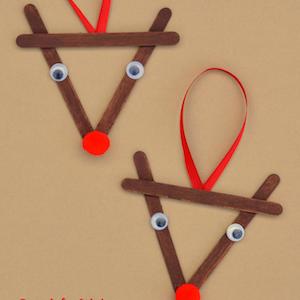 Popsicle Stick Reindeer Christmas OrnamentCraft for kids