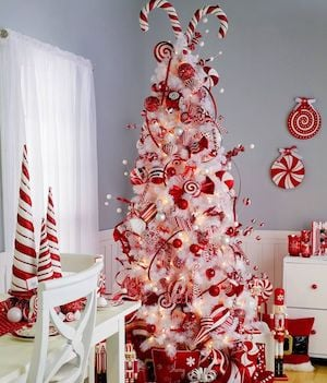 candy cane white christmas tree - Red And White Christmas Tree