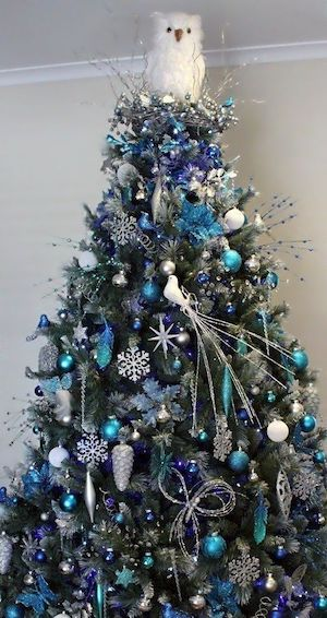 frosty blue christmas tree source unknown - Blue And Gold Christmas Tree