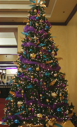purple blue and gold christmas tree from flickr