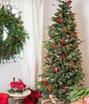 berry christmas tree from sugar and charm you can get berry picks from dollar tree