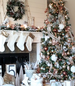 glam metallic farmhouse christmas tree from giggles galore - Farmhouse Christmas Tree Decorations