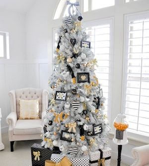 black white gold christmas tree from karas party ideas - Modern Christmas Tree Ideas