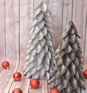 Plastic Spoon Christmas Tree Craft for adults