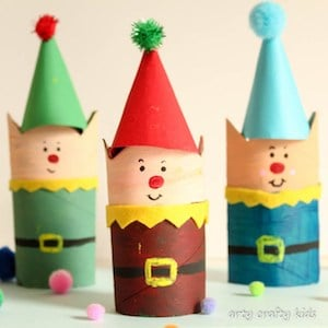 Cardboard Tube Christmas Elf Craft for kids