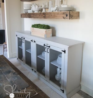 DIY 4 Door Buffet Plywood Wire Mesh Staples Pocket Hole Screws Kreg Jig Hinges Nails Wood Glue Farmhouse Bench