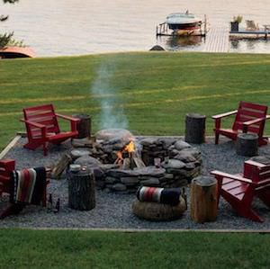 Stone Fire Pit with Square Gravel Area