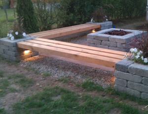 Custom Benches And Square Fire Pit