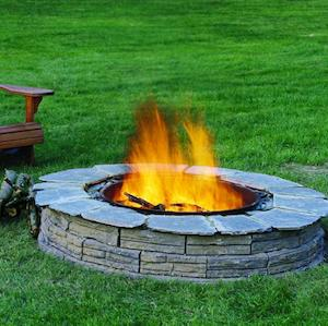 wall blocks and capstone fire pit