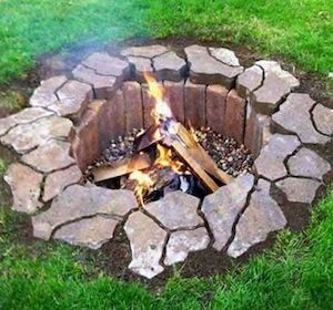 In Ground Stone Brick Fire Pit