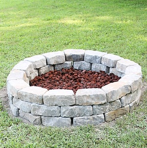 Diy Brick Fire Pit For Only 80 Wedge Wall Block Small Gravel Paver Leveling Sand