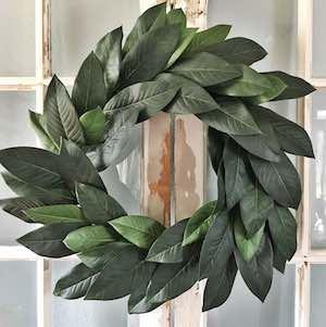 DIY Faux Magnolia Wreath