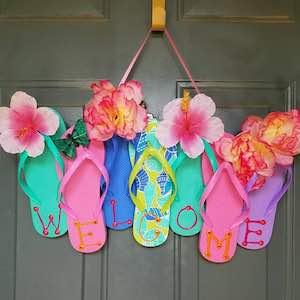 d15a6b2de Summer Flip Flop Wreaths from Crafty Morning cardboard base + flip flops +  fake flowers   other accents + fabric paint
