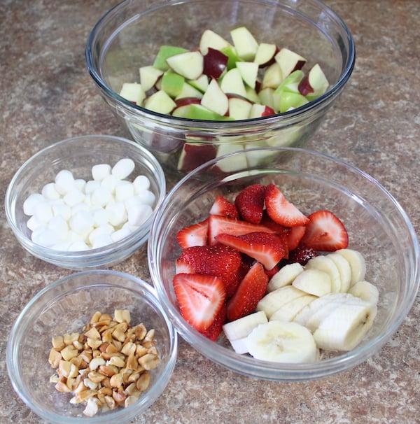 Creamy Peanut Butter Fruit Salad Ingredients