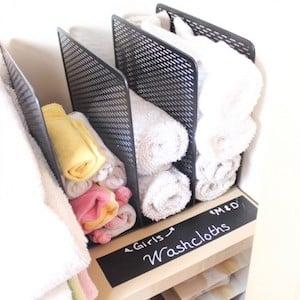 Wash Cloth Organization using file sorter