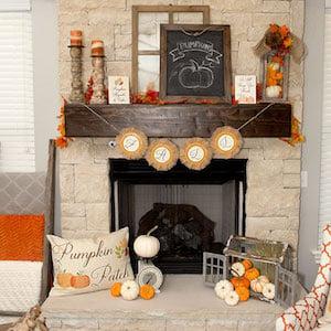 Fall Farmhouse Mantel Decor Idea