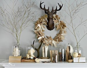 Eclectic Neutral Fall Mantel with paper wreath and antlers