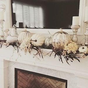 Silver and White Pumpkin Fall Mantel Idea